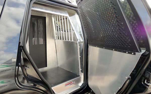 American Aluminum Chevy Tahoe SUV EZ Rider K9 Police Vehicle Dog Kennel Transport Insert System ...